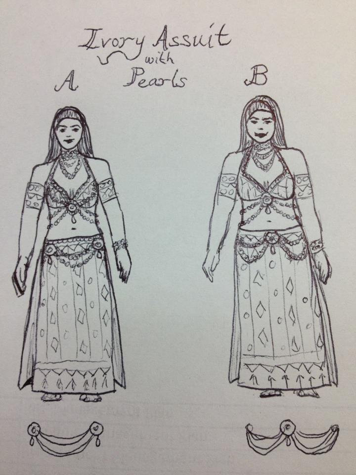 Sketches of Ivory Assuit Costume